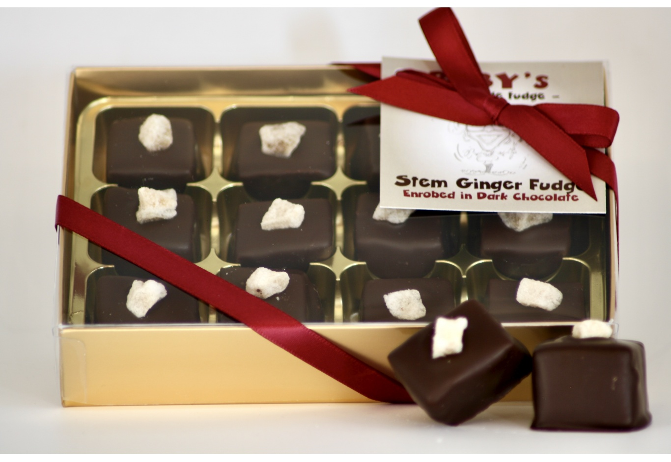 Stem Ginger Fudge In Dark Chocolate
